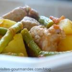 Wok de filet de porc massalé aux haricots verts et pommes de terre