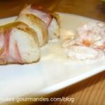 Avant goût de Noël, noix de Saint Jacques lardées et crevettes crème à l'armagnac