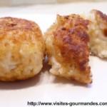 Croquettes de riz, mozzarella à la farine de pois chiche