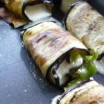 Roulés d'aubergines mozzarella et une variante Saint Marcellin et poivron