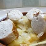 Boudin blanc et oignons fondants sur croustillants