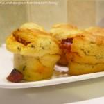 Muffins à la ricotta , chorizo et poivrons