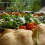 Tarte (pâte à l'huile d'olive) aux  tomates cerises confites au miel ... , comme un goût d'Italie