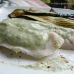 Filets de poisson , sauce à la Chartreuse verte et au poireau