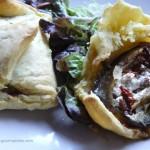 Feuilletés aubergine,tomates confites, pignons ... et fêta pour Culino Versions