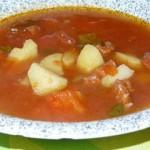 Soupe au chorizo,tomates et poivrons rouge