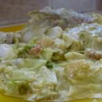 Filet de poisson sauce asperges et poireaux.