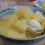 Mousse mascarpone et ananas.