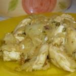 Blancs de poulets au citron, pistache et épices.