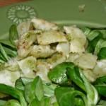 Ravioles grillées sur salade.
