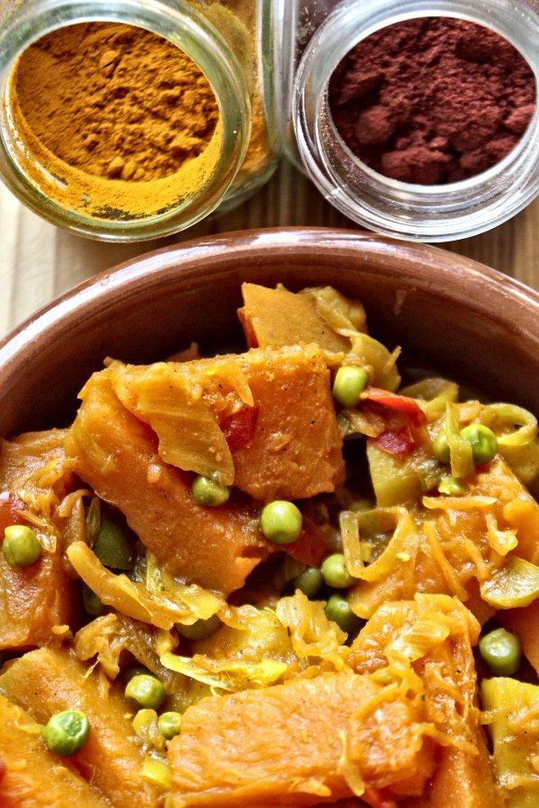 Poélée de courge et autres petits légumes aux épices