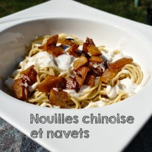 Navets, soja, crème et nouilles chinoises